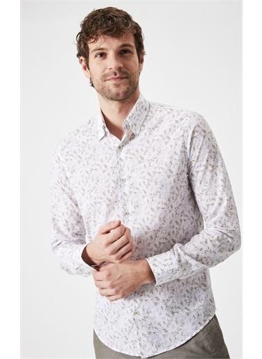 Boris Becker Boris Becker Gömlek Yaka Uzun Kol Çiçek Desenli Düğmeli Yaka  Erkek Gömlek Altın